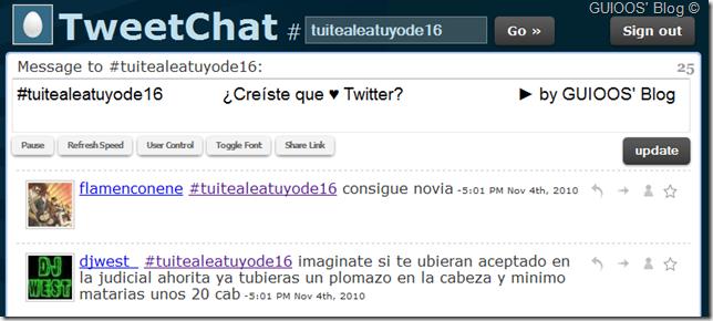 Ejemplo de uso de TweetChat. Da clic para seguir a GUIOOS' Blog en Twitter