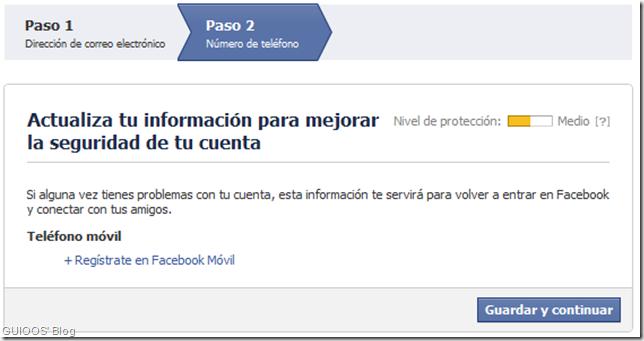 Actualización de información de seguridad en Facebook
