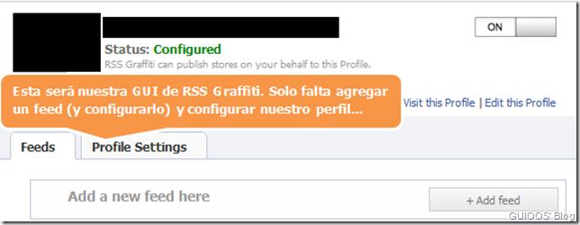 Imagen que muestra RSS Graffiti configurado (después de autorizar la aplicación). Falta agregar un feed y configurarlo.