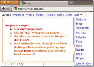 Los pasos a seguir para usar Google Reader