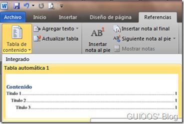 Escogiendo un formato automático para la tabla de contenido.