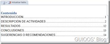 Ejemplo de tabla de contenido de un sólo nivel