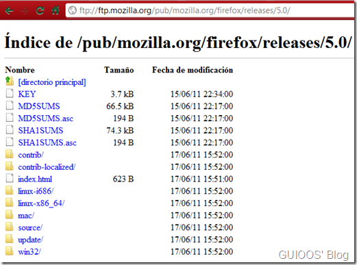 directorio FTP firefox's 5.0 releases